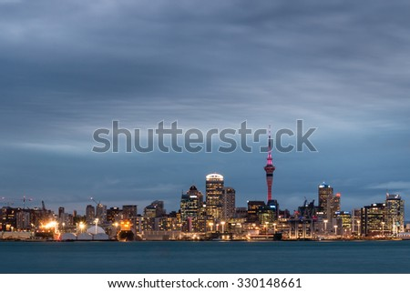 Auckland, New Zealand - October 13, 2015: long exposure of Auckland skyline and waterfront