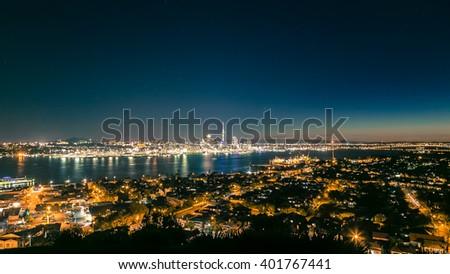 Auckland night view - stock photo