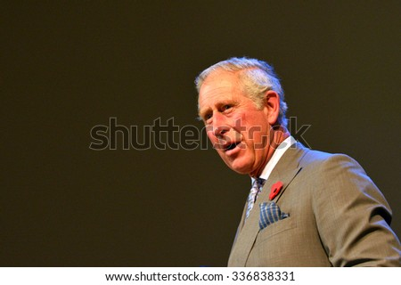 AUCKLAND - NOV 08 2015:Prince of Wales (C) visit in Auckland New Zealand.He is the oldest person to be next-in-line to become king of Great Britain. - stock photo
