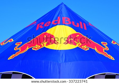 AUCKLAND - NOV 05 2015:Red Bull Logo on marquee tent.Red Bull is the highest-selling energy drink in the world, with 5.387 billion cans sold in 2013 - stock photo