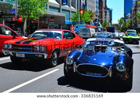 AUCKLAND - NOV 05 2015:US classic muscle cars pared in Auckland, New Zealand.It's A large V8 engine car fitted in a 2-door of family-style mid-size or full-size car designed for 4-5 passengers. - stock photo
