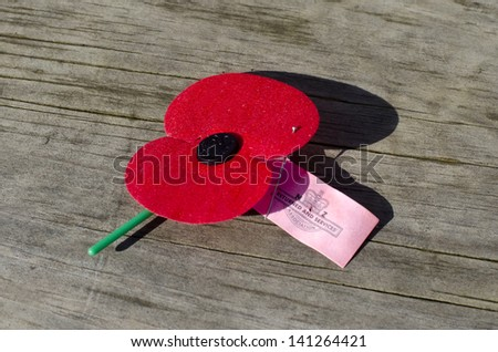 AUCKLAND, NZ - APR 25:Close up of an ANZAC red poppy on the ground during a National War Memorial Anzac Day service in Auckland, New Zealand on April 25 2013. - stock photo