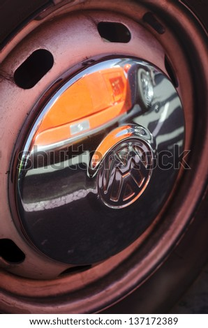 AUCKLAND, NZ - APRIL 25: Close up of VW car wheel on April 25 2013 in Auckland, New Zealand.Volkswagen Beetle is in the top 10 list of best-selling cars of all time - stock photo