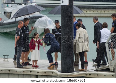 AUCKLAND, NZ - APRIL 11: Duke and Duchess of Cambridge (Prince William and Kate Middleton) visit Auckland's Viaduct Harbour during their New Zealand tour on April 11, 2014 in Auckland, New Zealand. - stock photo