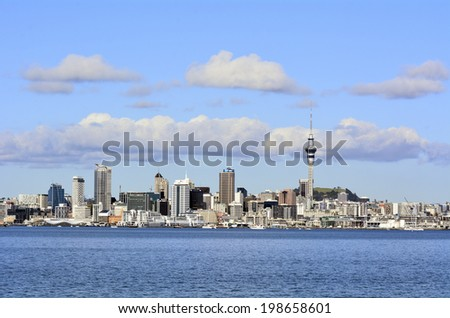 AUCKLAND, NZ - JUNE 04 2014:Auckland downtown skyline.Auckland has been rated one of the world's top 10 cities to visit by travel bible Lonely Planet.