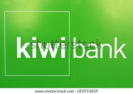 AUCKLAND NZ - MAR 21 2014:Kiwibank banner. It's New Zealand's Most Trusted Bank, by Reader's Digest Trusted Brand Awards on 2007, 2008, 2009, 2011 and 2012.