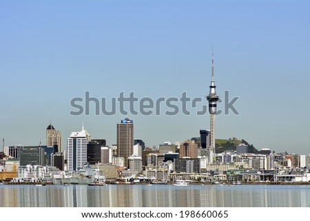 AUCKLAND, NZ - MAY 28 2014:Auckland downtown skyline.Auckland has been rated one of the world's top 10 cities to visit by travel bible Lonely Planet.