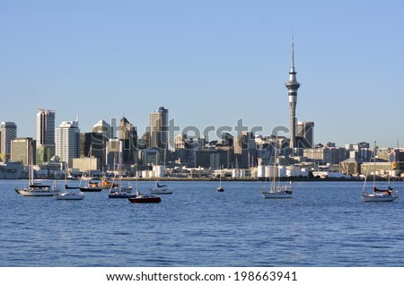 AUCKLAND, NZ - MAY 27 2014:Auckland downtown skyline.Auckland has been rated one of the world's top 10 cities to visit by travel bible Lonely Planet.