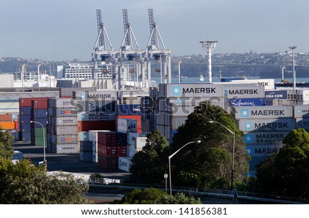 AUCKLAND,NZ - MAY 29:Containers and container cranes on Fergusson Wharf at Ports of Auckland on May 29 2013.It's New Zealand's largest commercial port, its turnover of more than NZ$20 billion per year