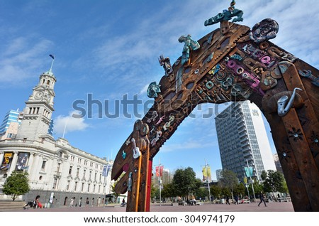 AUCKLAND,  NZL - AUG 01 2015:Traditional Maori entry gate at Aotea Square.Its one of the biggest squares in New Zealand used for open-air concerts, gatherings, markets and political rallies. - stock photo