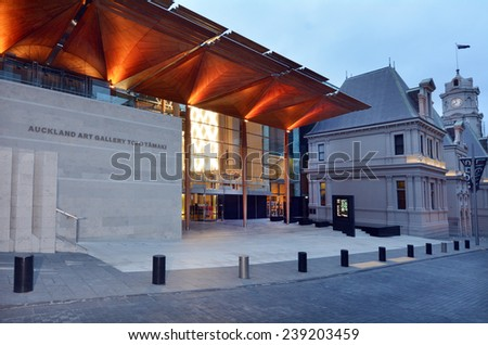AUCKLAND, NZL - DEC 16 2014: Auckland Art Gallery Toi o Tamaki.It's the principal public gallery in Auckland that has the most extensive collection of national and international art in New Zealand. - stock photo