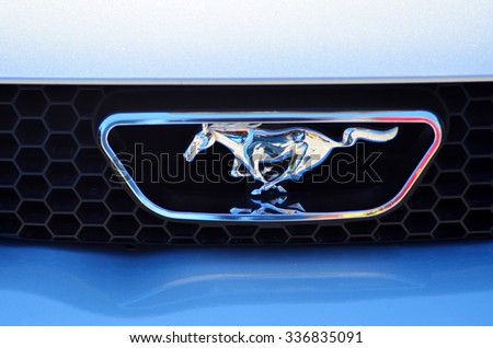 AUCKLAND,  NZL - NOV 05 2015:Ford Mustang in a public US muscle cars V8 car show. The 1965 Mustang won the Tiffany Gold Medal for excellence in American design, the first automobile ever to do so. - stock photo