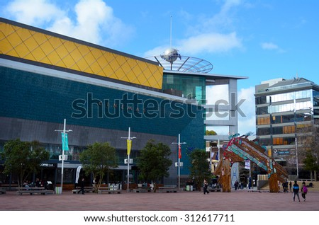 AUCKLAND,  NZL - SEP 03 2015:Aotea Square in Auckland, New Zealand.Its one of the biggest squares in New Zealand used for open-air concerts, gatherings, markets and political rallies.