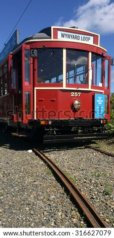 AUCKLAND,  NZL, SEP 12 2015:Auckland Dockline Wynyard Quarter Tram.The vintage tram currently runs on a newly built 1.5 km (0.93 mi) circuit in Wynyard Quarter close to downtown Auckland, New Zealand.