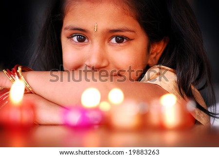 AUCKLAND - OCT 16, 2006. An unidentified young performer poses at the annual Diwali Festival at Auckland's Britomart Centre on Oct 16, 2006 in Auckland, NZ. Hindus celebrate the event globally. - stock photo