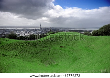 Auckland's Mount Eden New Zealand - stock photo
