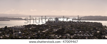 Auckland's Waitemata Harbour at late afternoon, New Zealand - stock photo