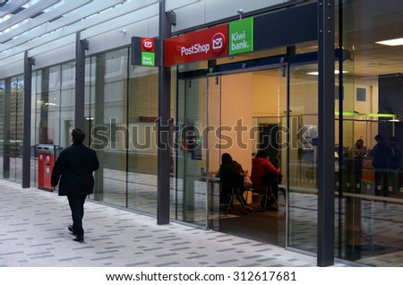 AUCKLAND - SEP 03 2015:New Zealand Post shop in Auckland.New Zealand Post is a state-owned enterprise responsible for providing postal service in New Zealand and also serves as a branch of Kiwibank. - stock photo