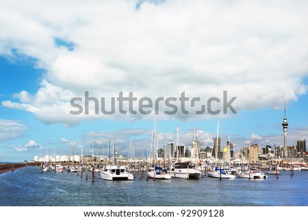 Auckland skyline and harbor - stock photo