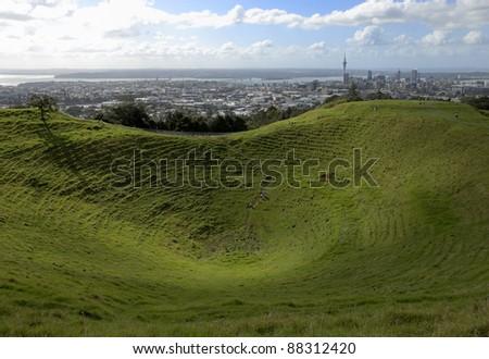 Auckland skyline from Mt Eden - stock photo