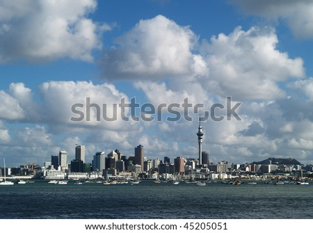Auckland skyline from North Shore, New Zealand - stock photo