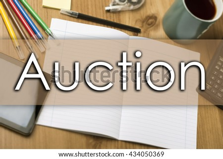 Auction - business concept with text - horizontal image