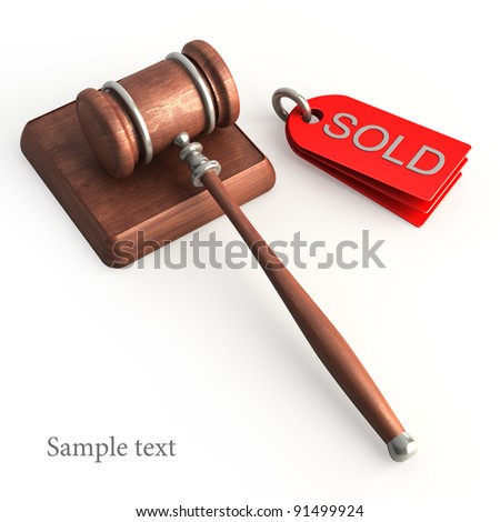 Auction gavel isolated on white High resolution 3D - stock photo