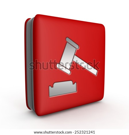 Auction square icon on white background - stock photo