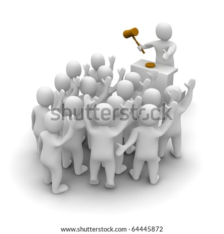 Auction with auctioneer holding wooden hammer. 3d rendered illustration. - stock photo