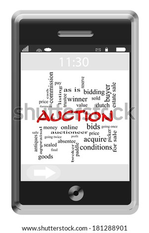 Auction Word Cloud Concept of Touchscreen Phone with great terms such as bid, price, win and more. - stock photo