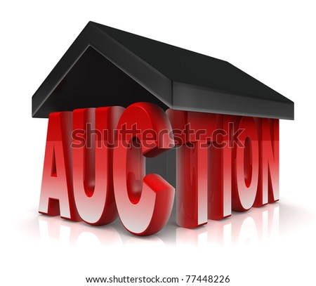 Auction word with a roof property acution concept 3d illustration - stock photo