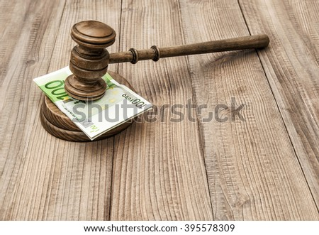 Auctioneer hammer with soundboard. Judges gavel and euro banknotes - stock photo