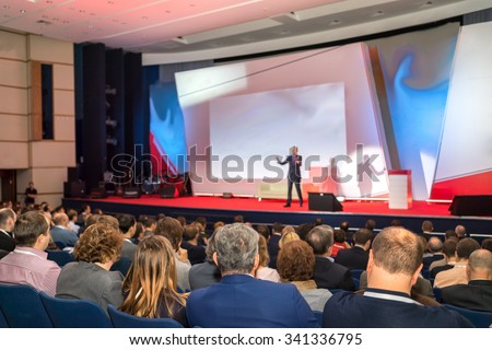 Audience in the conference hall - stock photo