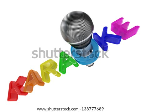 Audio a microphone for singing and a karaoke in 3d - stock photo