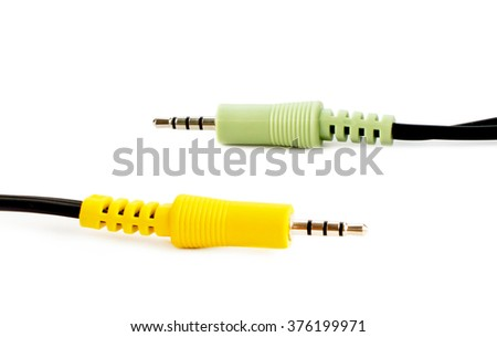 Audio adapters green and yellow colors on a white background