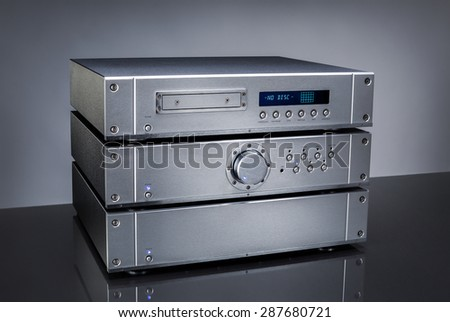 audio amplifier - stock photo