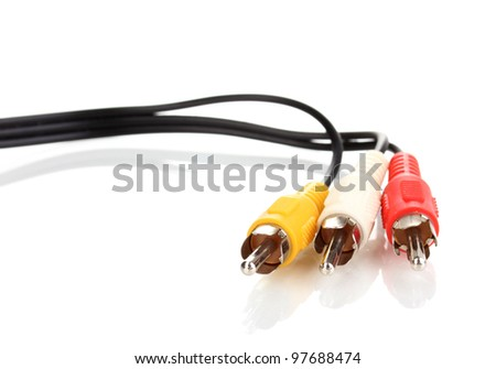 Audio and video cable isolated on white