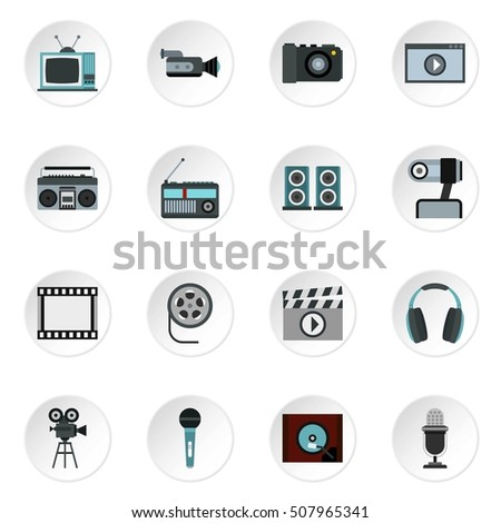 Audio and video icons set. Flat illustration of 16 audio and video  icons for web