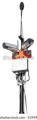 Audio and video security system isolated on white background - stock photo