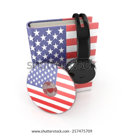 Audio Book. American learning concept with cd, book and headphones. 3d render. - stock photo