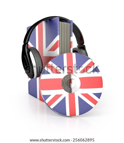 Audio Book. English learning concept with cd, book and headphones. 3d render. - stock photo