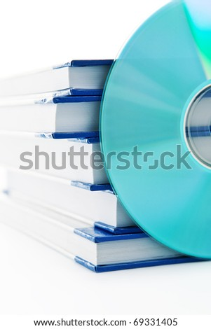 Audio book - pile of books and one cd - stock photo