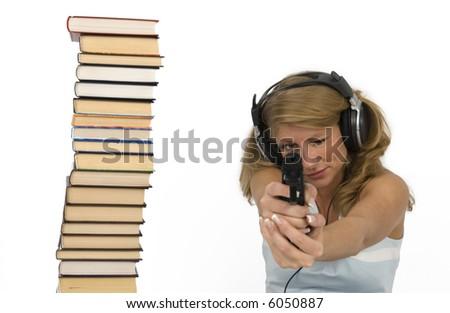 Audio books Action. - stock photo