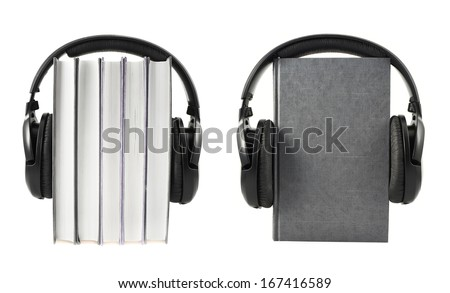 Audio-books concept composition as a stack of books with a headphones on it, isolated over white background, set of two foreshortenings - stock photo