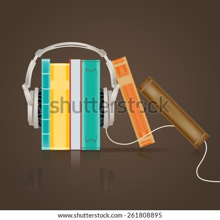 audio books concept with headphones on brown