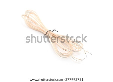 Audio cables or Coaxial Cables on white background - stock photo