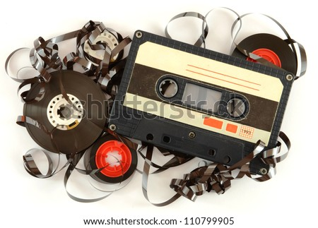 Audio cassette and tape composition - stock photo