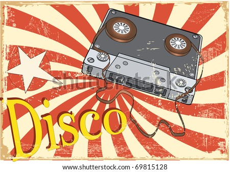 Audio cassette and the poster - stock photo