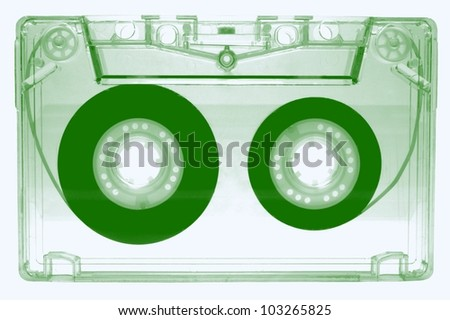 Audio cassette -green- isolated on white background - stock photo