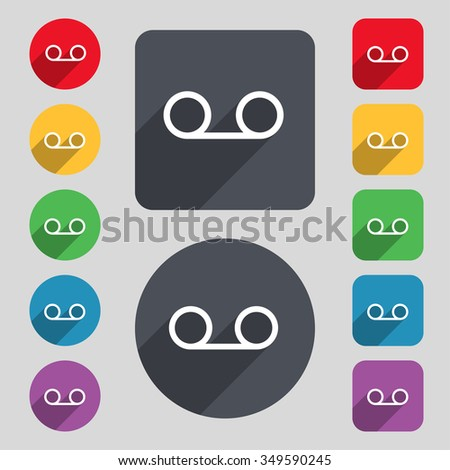 audio cassette icon sign. A set of 12 colored buttons and a long shadow. Flat design. illustration - stock photo